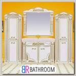 Мебель для ванной Misty Барокко 120 прямая бежевая, патина