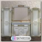 Мебель для ванной Misty Барокко 120 3 ящика белая, патина